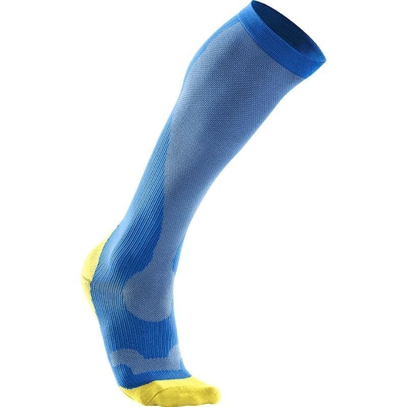 2XU Compression Performance Run Sock Men XS Vibrant Blue/Canary Yellow