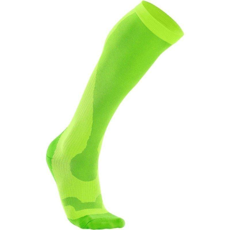 2XU Compression Performance Run Sock Women L Fluro Green/Green