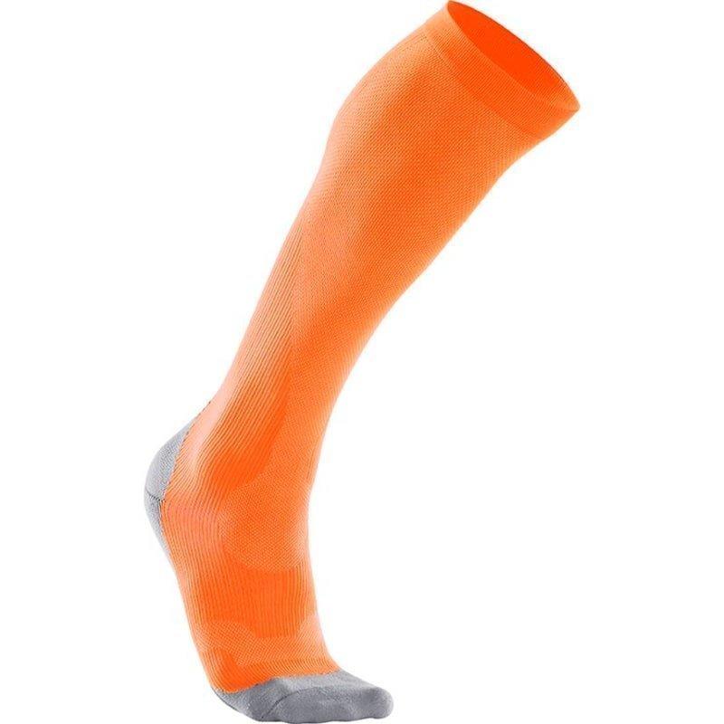 2XU Compression Performance Run Sock Women M Fluor Orange/Limestone Grey
