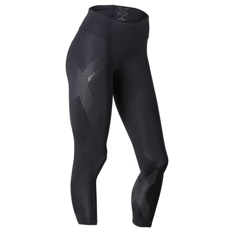 2XU Mid-Rise Compression 7/8 Tight Women L Black/Dotted Reflective