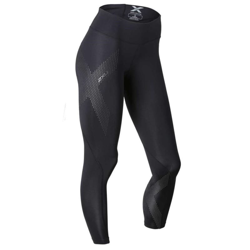 2XU Mid-Rise Compression Tights Women L Black/Dotted Reflective