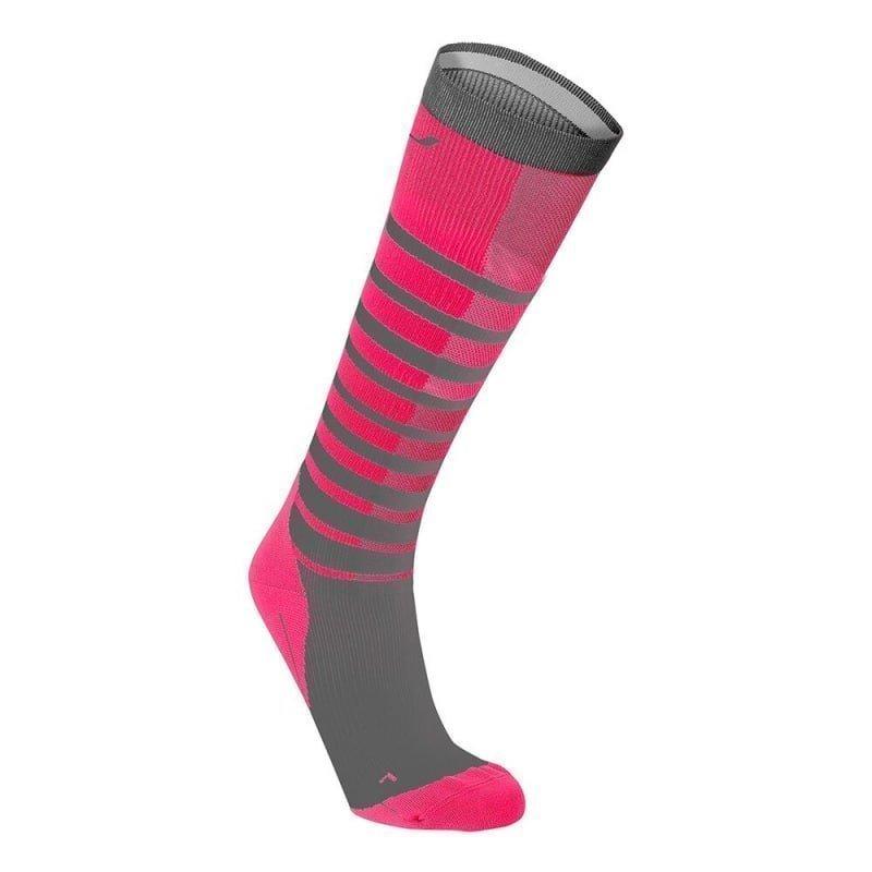 2XU Striped Run Compression Socks L CHERRY PINK/GREY