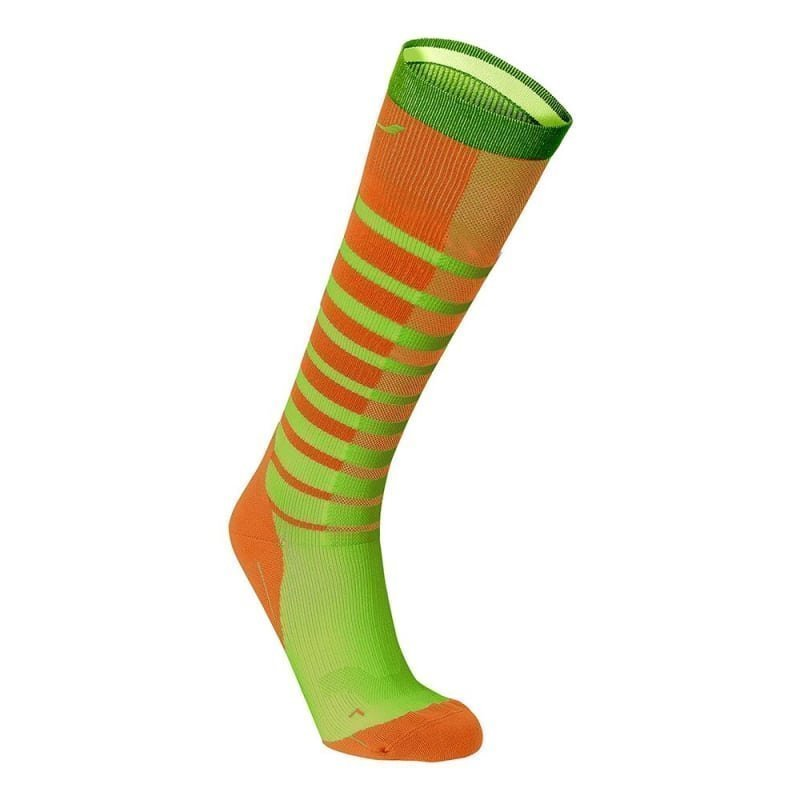 2XU Striped Run Compression Socks S SUNBURST ORANGE/BRIGHT GREEN