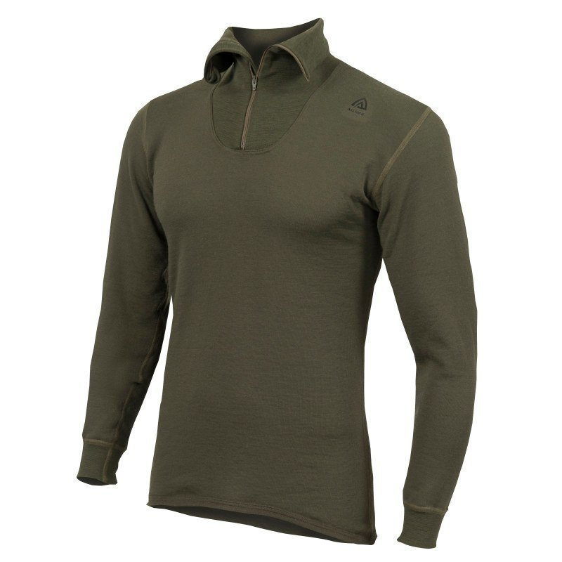 Aclima Hotwool Polo W/Zip S Olive Night