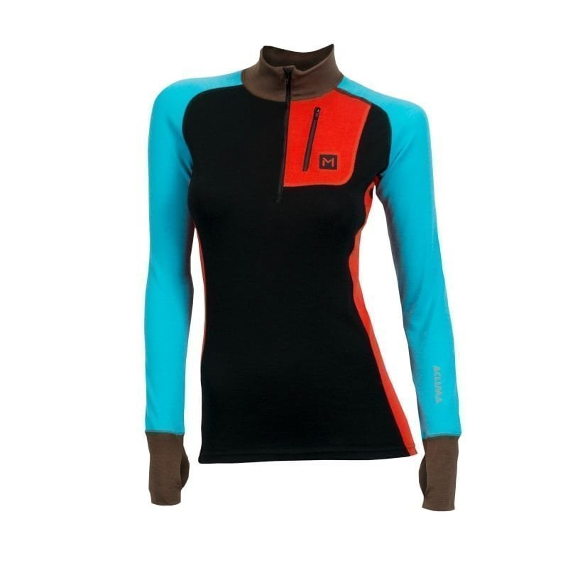 Aclima Lars Monsen Anárjohka Mock Neck W/Zip Women's M JET BLACK/POINCIANA/BLUE