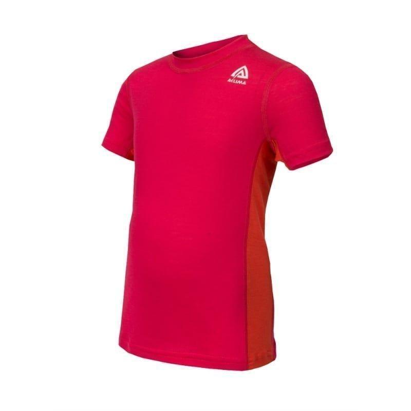 Aclima Lightwool T-Shirt Children 130 Raspberry/Poinciana