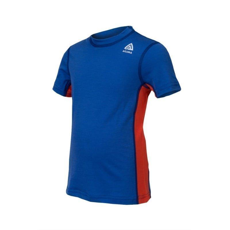 Aclima Lightwool T-Shirt Children 140 Dazzling Blue/Poinciana