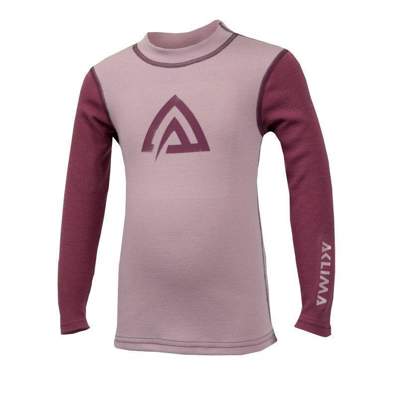 Aclima Warmwool Shirt Crew Neck Children 140 Mauve Shadows/Damson
