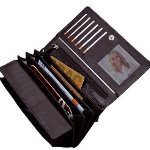 Alassio RFID naisten dokumenttilompakko musta nahkaa