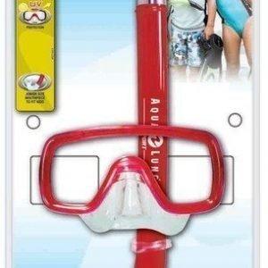 Aqualung snorklaussetti PEEKA JR lapsille punainen sininen ja pinkki