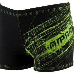 Arena Drawy Jr short poikien uimaboxerit musta/vihreä