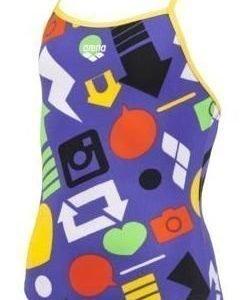Arena Icon Jr. tyttöjen uimapuku violetti/keltainen