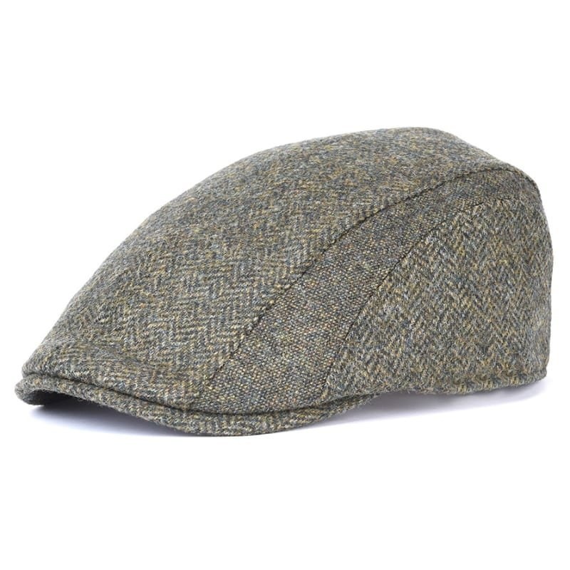 Barbour Herringbone Tweed Cap M Olive