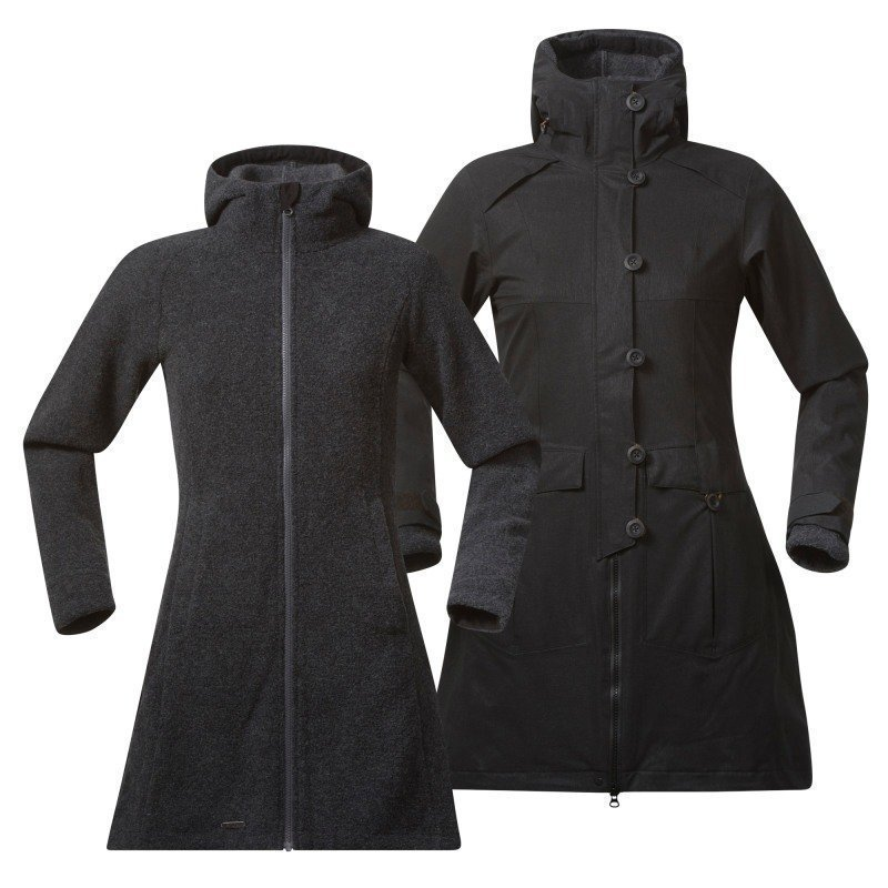 Bergans Bjerke 3in1 Lady Coat M Outer:Black/Inner:SolidDkGrey