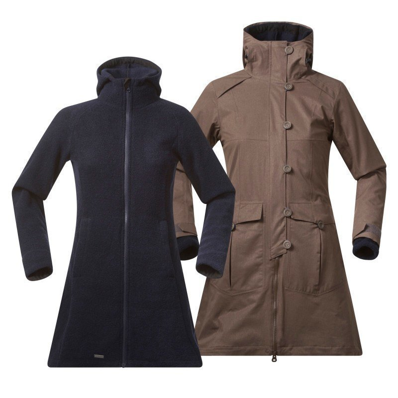 Bergans Bjerke 3in1 Lady Coat XL Outer:Clay/Inner:Midnight Blue