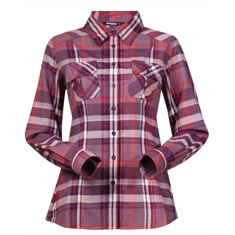 Bergans Bjorli Lady Shirt M DustyPlum/Koi Orange Check