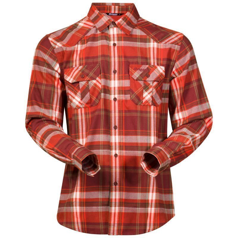 Bergans Bjorli Shirt L Dark Maroon/Koi Orange Check