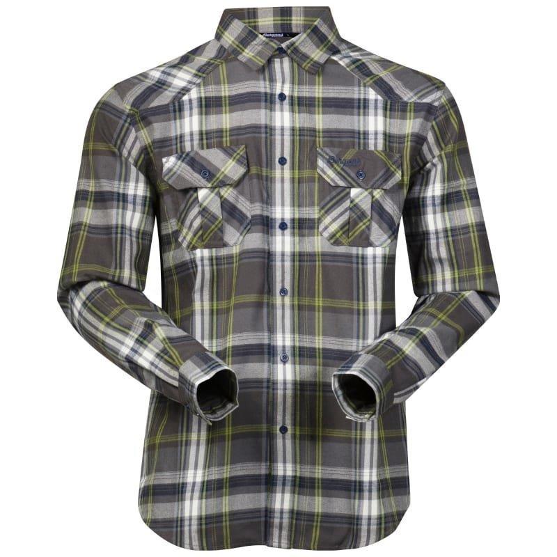 Bergans Bjorli Shirt M Solid Grey/Spring Green Check
