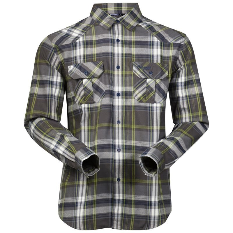 Bergans Bjorli Shirt XL Solid Grey/Spring Green Check
