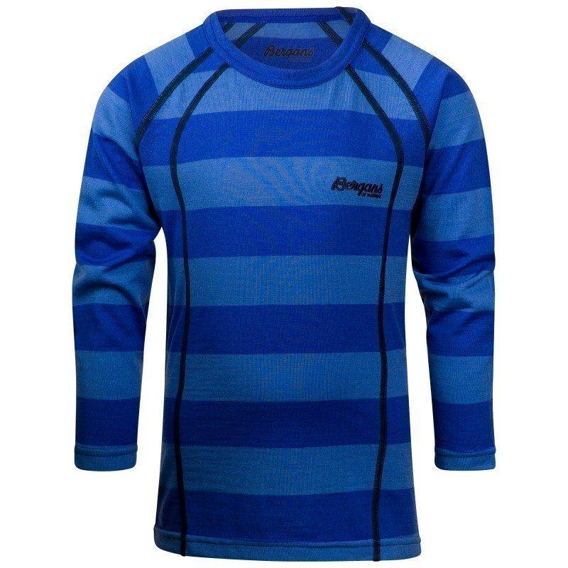 Bergans Fjellrapp Kids Shirt 104 Skyblue Striped