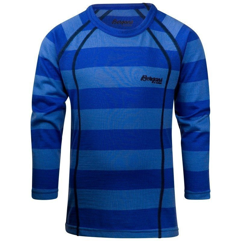 Bergans Fjellrapp Kids Shirt 110 Skyblue Striped