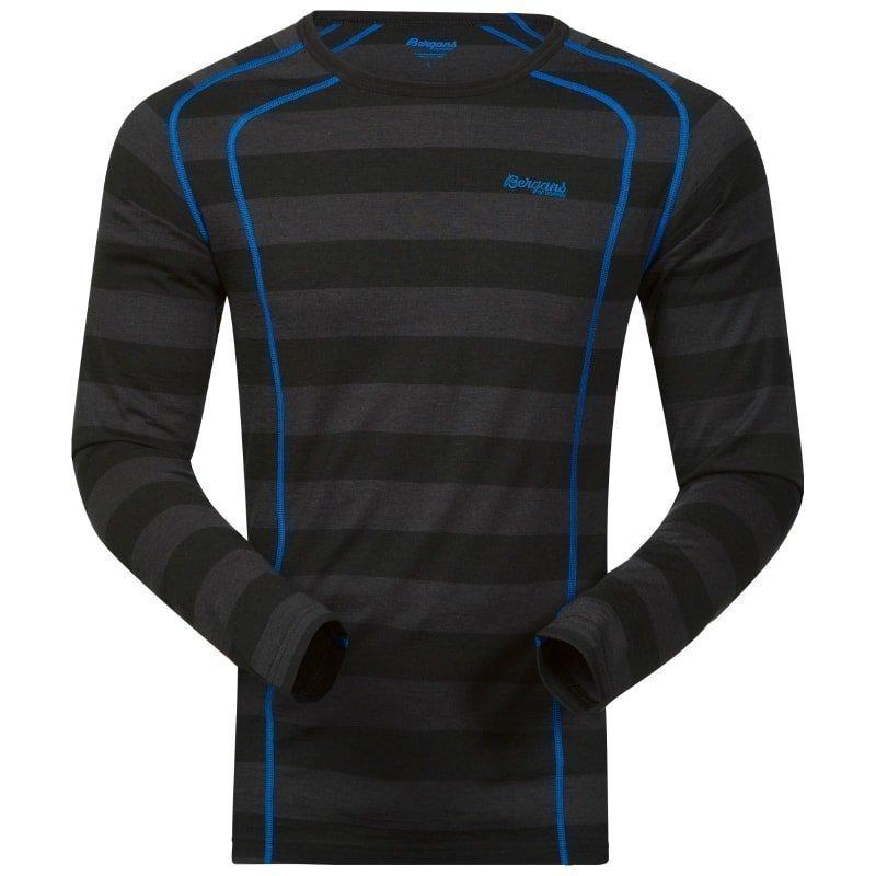 Bergans Fjellrapp Shirt L Black Striped/Athensblue