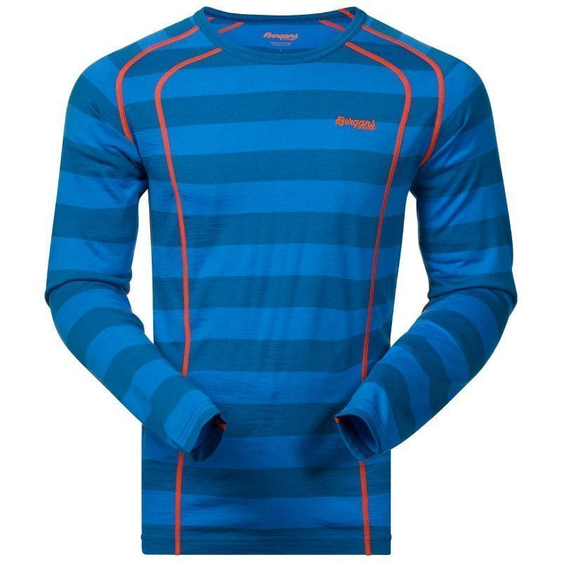 Bergans Fjellrapp Shirt L Ocean Striped / Koi Orange