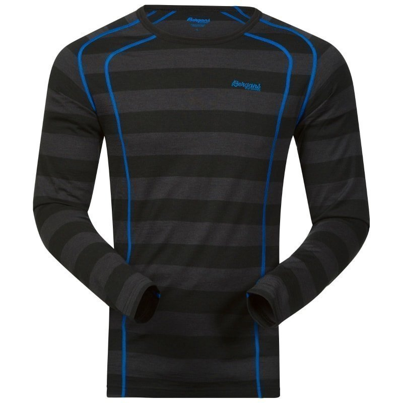 Bergans Fjellrapp Shirt M Black Striped/Athensblue