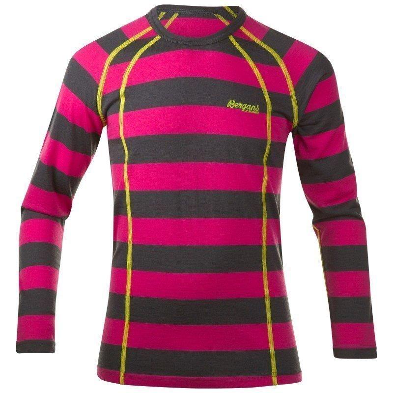 Bergans Fjellrapp Youth Shirt 128 Hot Pink/SolidDkGrey Striped