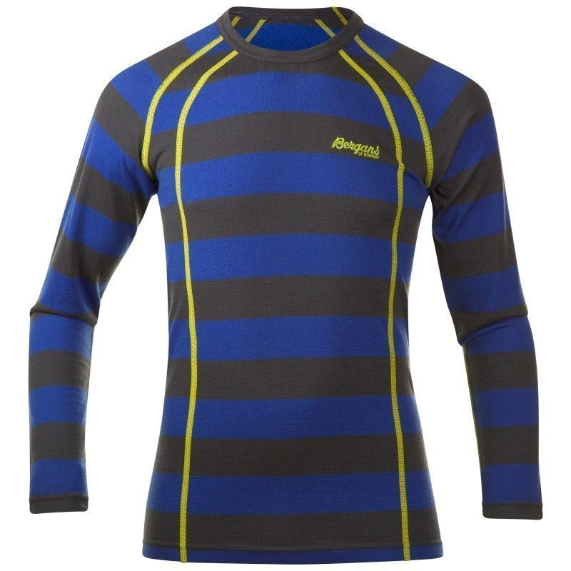 Bergans Fjellrapp Youth Shirt 128 WARM COBALT/SOLIDDKGREY STRIP