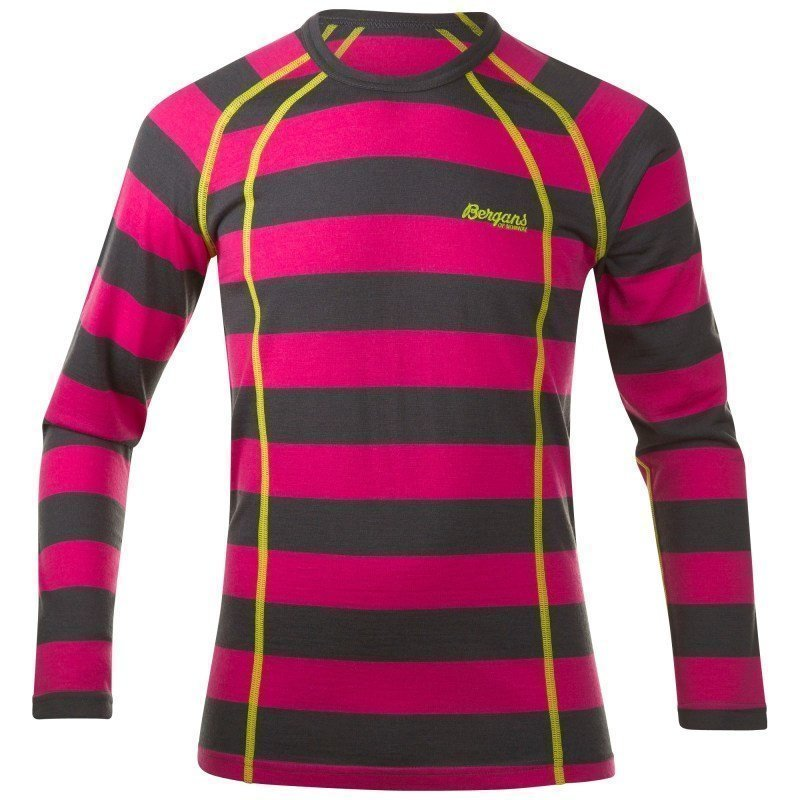Bergans Fjellrapp Youth Shirt 164 Hot Pink/SolidDkGrey Striped