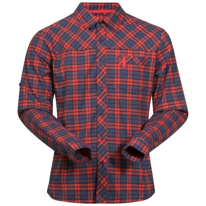 Bergans Granvin Shirt L Navy/Bright Red Check