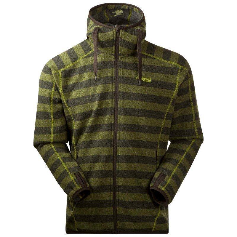 Bergans Humle Jacket L Dk Olive/Lime Striped