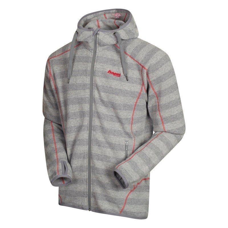 Bergans Humle Jacket L Grey Striped/Red