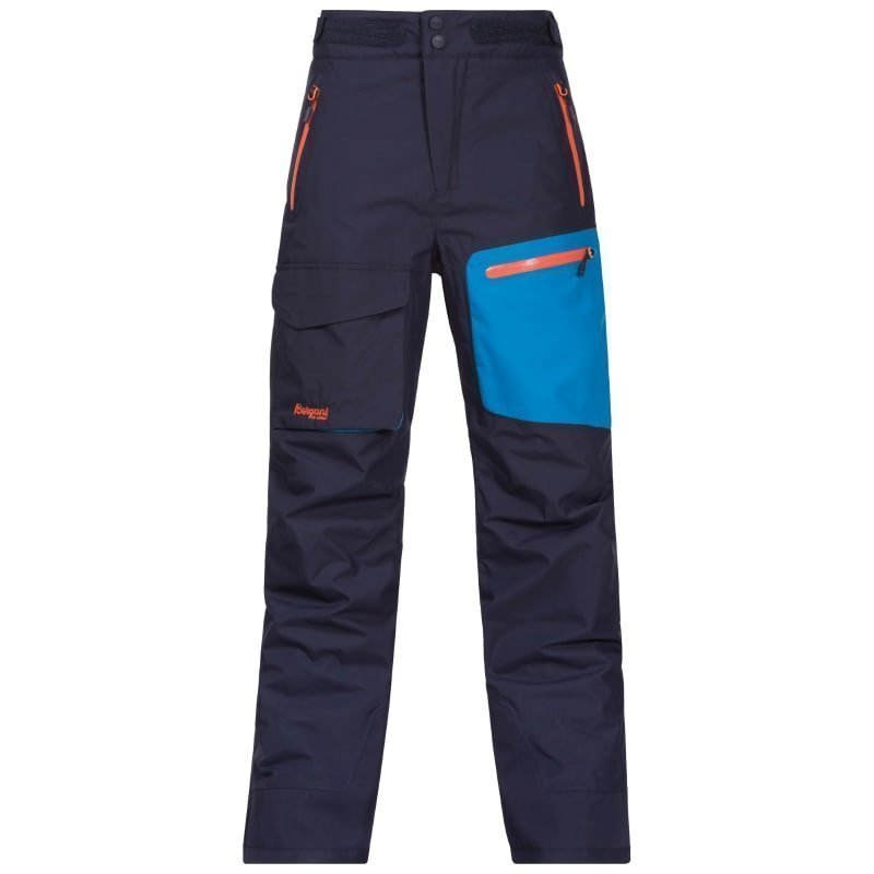 Bergans Knyken Insulated Youth Pant 128 Navy/Lt Seablue/Koi Orange