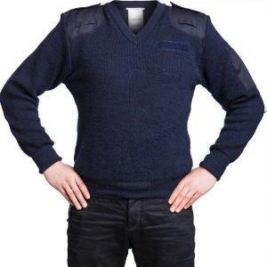 Brittiläinen villapaita sininen V-aukko miesten ylijäämä