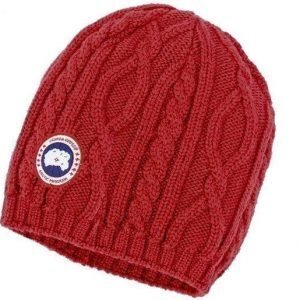 Canada Goose Merino Cable Knit Beanie W Punainen
