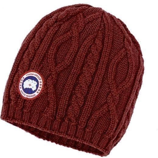 Canada Goose Merino Cable Knit Beanie W Tummanpunainen