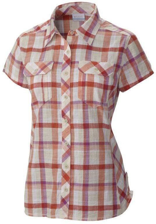 Columbia Camp Henry Short Sleeve Shirt Women Coral L
