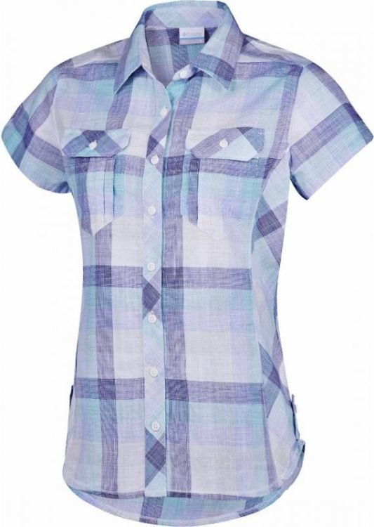 Columbia Camp Henry Short Sleeve Shirt Women Purple L