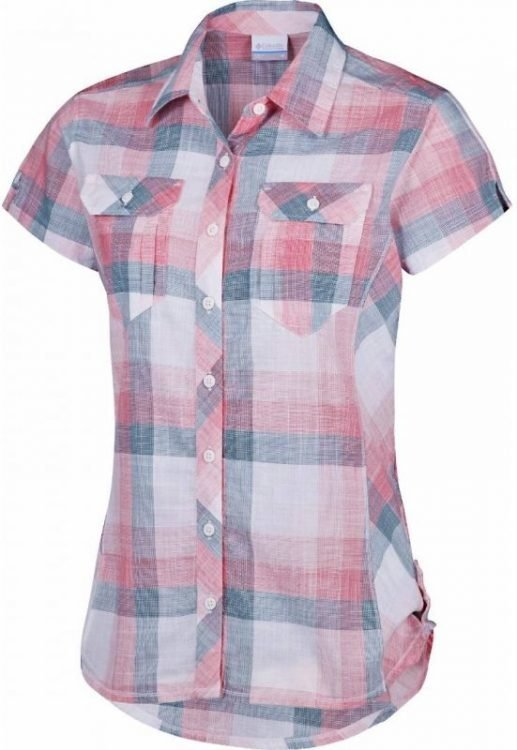 Columbia Camp Henry Short Sleeve Shirt Women Vaaleanpunainen XL