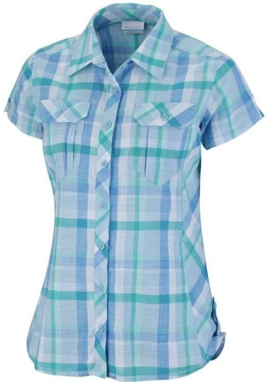 Columbia Camp Henry Short Sleeve Shirt Women Vaaleansininen L