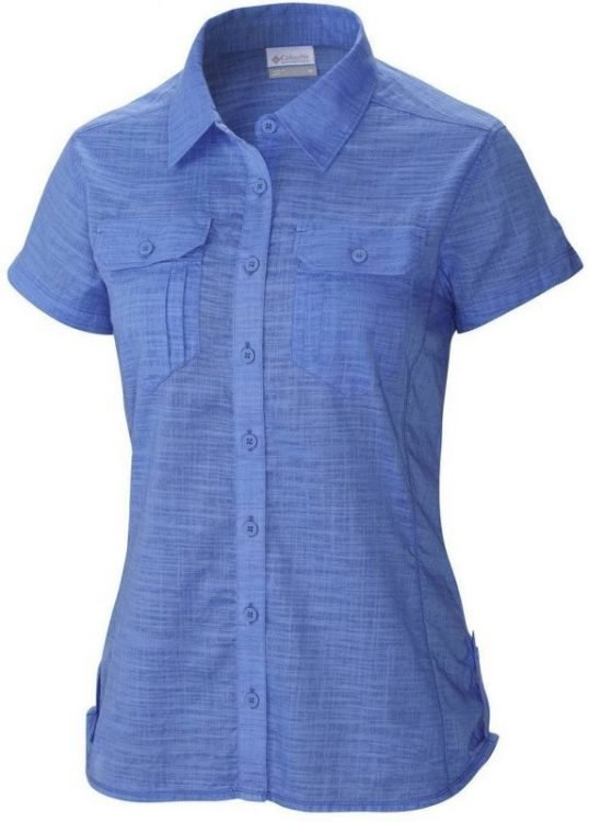 Columbia Camp Henry Solid Short Sleeve Shirt Women Sininen M