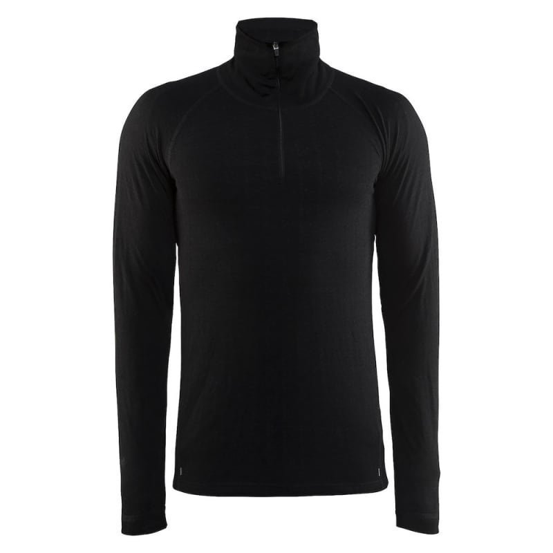 Craft Nordic Wool Zip Neck M S Black/Dark Grey Melange