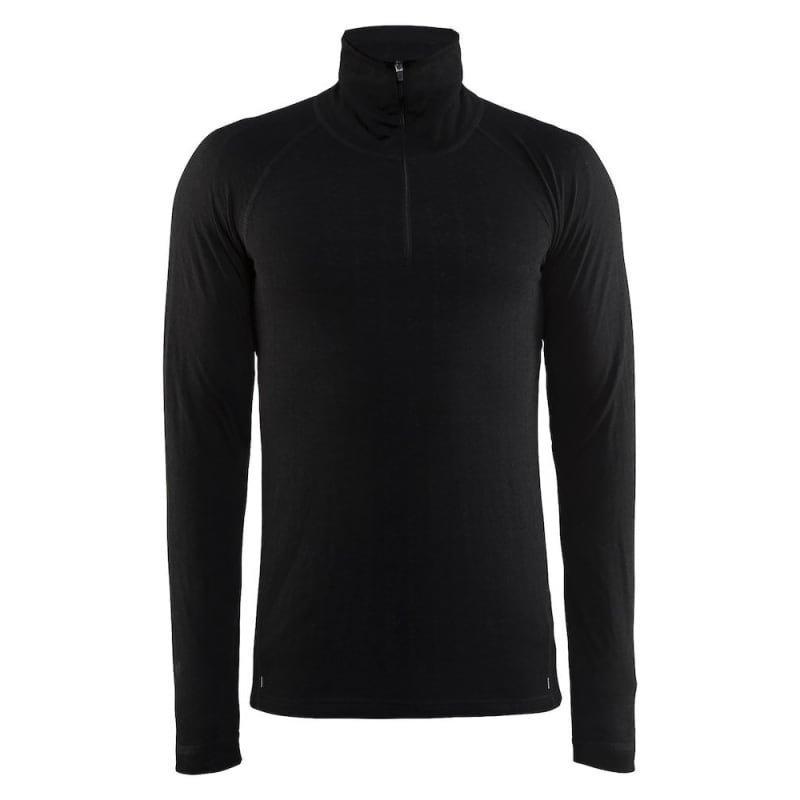Craft Nordic Wool Zip Neck M XXL Black/Dark Grey Melange
