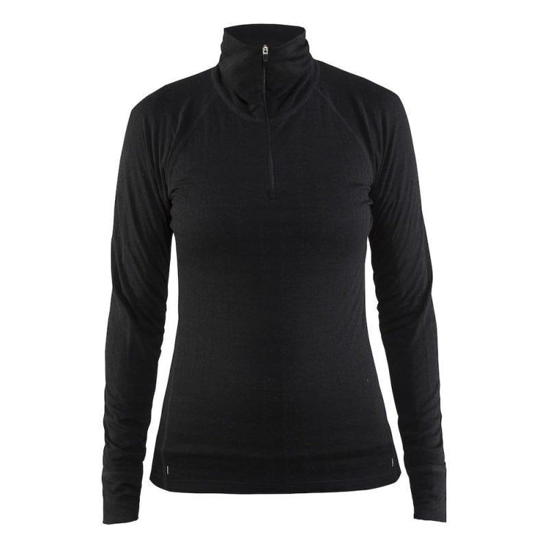 Craft Nordic Wool Zip Neck W XS Black/Dark Grey Melange