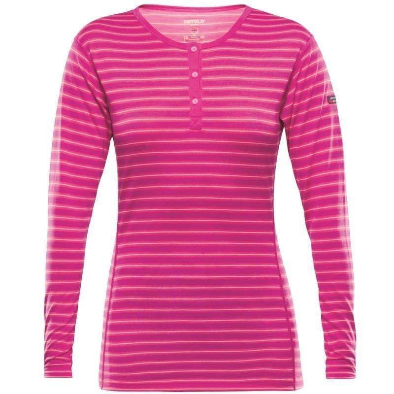 Devold Breeze Women's Button Shirt L FUCHSIASTRIPES