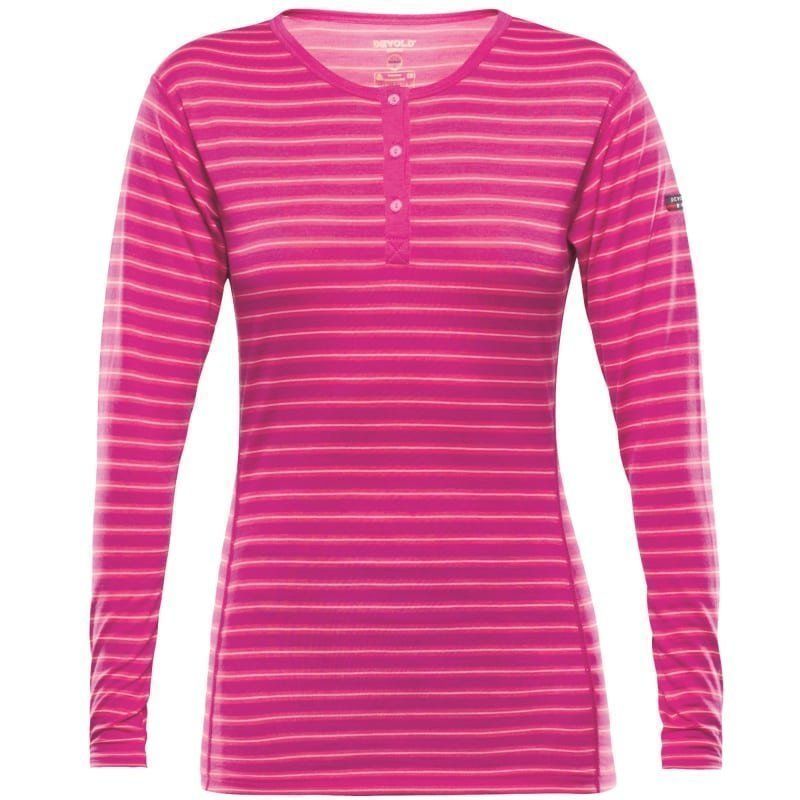 Devold Breeze Women's Button Shirt S FUCHSIASTRIPES