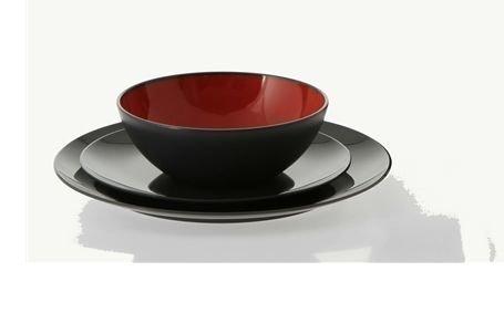 Dinner set astiasetti 12-osainen harmaa / punainen