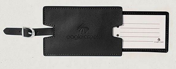 Eagle Creek Leather Luggage Tag nahkainen matkalaukun tunnistelaatta musta